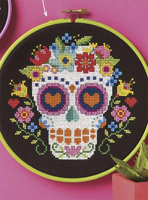 sugar skull cross stitch pattern love cross stitch